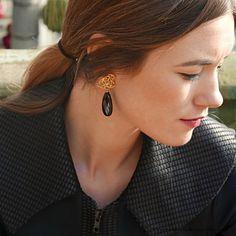 Black onyx drop earrings, Silver black stone earrings, Black gemstone drop earrings