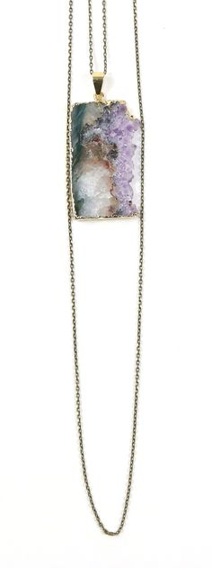 calm mind :: gold dipped amthyst double chain necklace