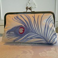 #Silk Dupioni Purse/Clutch/Bag / Peacock Feather by puck513 on Etsy