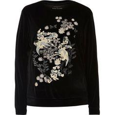 River Island Black embroidered velvet sweatshirt ($76) via Polyvore featuring tops, hoodies, sweatshirts, crew neck sweatshirts, floral embroidered top, embroidery top, long sleeve tops and crew neck top