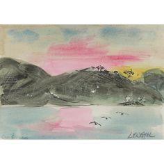 """Baja Sunset"" Original Painting by Laura Lengyel Watercolor Landscape, Watercolor And Ink, Antique Art, Vintage Art, Lost Art, Modern Art, Original Paintings, Art Gallery, Sculptures"