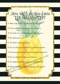 Printable pineapple bachelorette bridal quiz - slightly naughty version. Might not want to have this out with mom and Grandma around! Available immediately upon purchase through Pretty Printables Ink on Etsy. Double click image to view and purchase #bachelorettegames #bacheloretteparty
