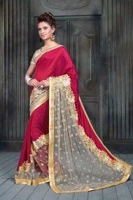 Net and Faux Crepe Party Wear Designer Saree In Maroon and Grey Colour