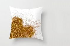DIY Glitter Throw Pillow - Homemade Gift Ideas for Teen Girls! You take a white throw pillow, put a paper stencil on it,l then you can spray paint on it or paint it!