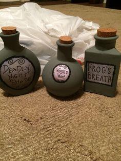 Retro Green Sally Nightmare Before Christmas Jars - Bottle Decor for 2014 Halloween Party #Halloween #Decor #Crafts