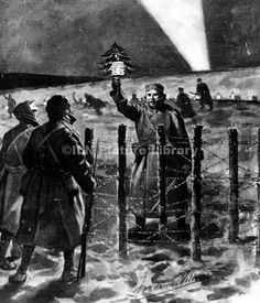 German soldier opens a spontaneous truce on Christmas Eve, 1914, by approaching British lines with a small Christmas tree.