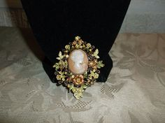 VTG. ROSE GOLD & GREEN ENAMEL RHINESTONE CARVED SHELL CAMEO WOMAN FLOWER BROOCH~