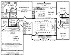 First Floor Plan of European   Ranch   Traditional   House Plan 59011