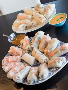 Vietnamese Spring Rolls with Peanut Sauce ( Rolls: rice paper rounds, carrots, cucumber, mint, basil, bean sprouts, chichekm shrimp, vermicelli noodles) ..... (For the Peanut Sauce: coconut milk, peanut butter, red thai curry paste, fish sauce, lime juice)