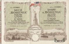 Muzeum cennych papiru BOHEMIA akciová banka v Praze 1910