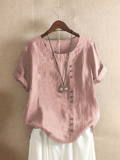 Hot: Short Sleeve Button Summer T-shirt - Time For Coffee Cheap Blouses, Shirt Blouses, Female Shorts, Summer Blouses, Color Shorts, Summer Tshirts, Casual T Shirts, Long Sleeve Shirts, Fashion Outfits