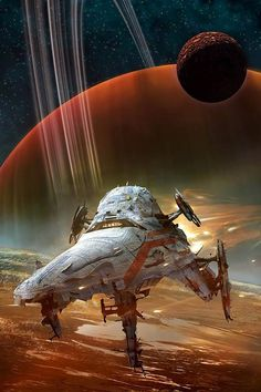 "Science Fiction World — ""Berkey Ship"" by J. Spaceship Concept, Concept Ships, Concept Art, Arte Sci Fi, Sci Fi Art, Space Fantasy, Sci Fi Fantasy, Science Fiction Art, Science Art"