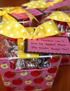 "Soooo doing this for Back to School gifts; ""A teacher can't live by apples alone, she needs hugs too!"""