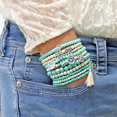 Beaded Bracelets Set of 10 Stretch Bracelets Bohemian Buddha Namaste Themed Bracelet Stack with Silver Tone Charms and Tassel – Perlen Armbänder Set Stretch Armbänder Bohemian Buddha Bohemian Bracelets, Boho Earrings, Bohemian Jewelry, Luxury Jewelry, Beaded Jewelry, Handmade Jewelry, Diamond Earrings, Colorful Bracelets, Jewelry Necklaces