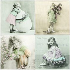 """4x Single Table Paper Napkins for Party, Decoupage, Craft """"Vintage Easter, mix"""