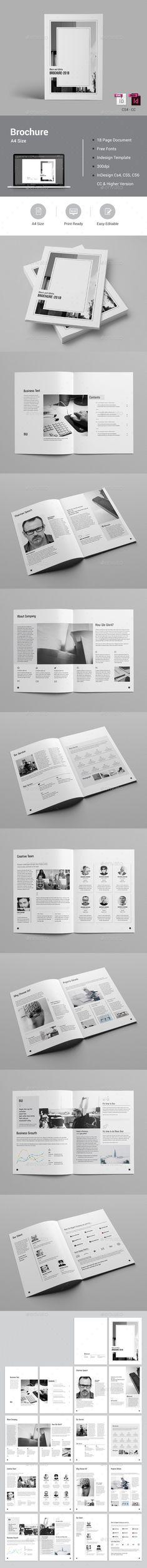 Black & White Brochure Template InDesign INDD