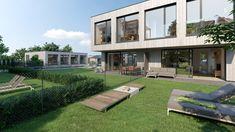 Eine Blick vom Garten auf ein Doppelhaus des Seepark Klopeinersee Style At Home, New Age, Mansions, House Styles, Home Decor, Architecture Visualization, Real Estate, Projects, Homes