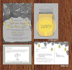 Wedding invites: grey/yellow