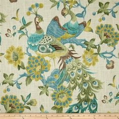 Richloom Preen Aqua Mist from @fabricdotcom  Screen printed on a linen/rayon blend this medium/heavyweight fabric is very versatile. This fabric is perfect for window treatments (draperies, valances, curtains, and swags), pillow shams, duvet covers, toss pillows, slipcovers and upholstery. Colors include sage, brown, blue and ivory.