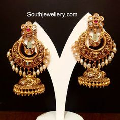 Antique Earrings latest jewelry designs - Page 2 of 56 - Indian Jewellery Designs Gold Jhumka Earrings, Indian Jewelry Earrings, Jewelry Design Earrings, Gold Earrings Designs, Antique Earrings, Necklace Designs, India Jewelry, Gold Necklace, Gold Designs