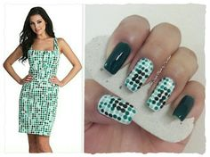"""GREEN POLKA DOTS INSPIRED IN A DRESS **FOR DETAILS FOLLOW MY BLOG OR DO """"LIKE"""" TO MY FACEBOOK, would be great!! All comments are welcome!!! https://www.facebook.com/glamstylenailsbycarolina **"""