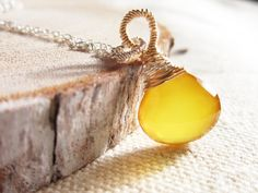 Yellow Stone Necklace Wire wrapped by thelittlehappygoose on Etsy, $35.00