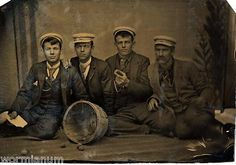 1870's Tintype 4 Handsome Young Men on Floor Eating Peaches | eBay