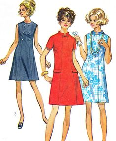 1960s Dress Pattern Simplicity 8603 Mod A Line Day by paneenjerez, $10.00