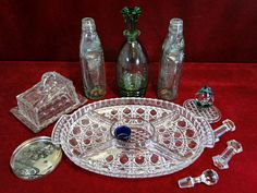 67) Vintage glass lot : Lidded  butter dish, canapes dish, decanter, cod bottles, soap dish, paperweight  etc Est. £20-£30