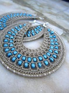 Crocheted hoop earrings with beads. Crocheted hoop earrings with beads. Crochet Jewelry Patterns, Crochet Earrings Pattern, Crochet Accessories, Wire Crochet, Crochet Crafts, Doilies Crochet, Bijoux Shabby Chic, Beaded Jewelry, Handmade Jewelry