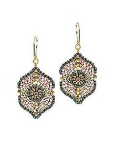 Miguel Ases Earrings of Swarovski Crystals, Miyuki, 18k Plated Beads, Retail $15