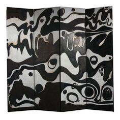 """Hand painted room divider / screen by Nicola L. Four panels hand painted on J.Annonay parchment laid down on canvas backing over wood frames. An exuberant black and white abstract painting in her signature psychedelic sixties style – this rare piece marked Nicola's transition away from painting and more fully into her functional art phase. Signed in pencil on the back """"Nicola."""""""