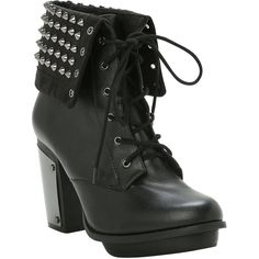 Studded Combat Boot Heel Hot Topic ($15) ❤ liked on Polyvore featuring shoes, boots, ankle booties, black military boots, high heel combat boots, black boots, black army boots and high heel booties
