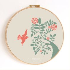 Dove and Tree Bird Silhouette Counted Cross Stitch Pattern Instant Download…