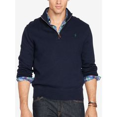 Polo Ralph Lauren Men's Big & Tall Half-Zip Sweater ($60) ❤ liked on Polyvore featuring men's fashion, men's clothing, men's sweaters, hunter navy, big & tall men's sweaters, mens big and tall sweaters, mens sweaters, polo ralph lauren mens sweater and old navy mens sweaters