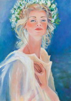 Oil Painting Portrait-Allegory of Spring Original by Art Painting Gallery, Modern Art Paintings, Painting & Drawing, Original Paintings For Sale, Original Artwork, Handmade Paint, Wedding Art, Bridal Gifts, Hanging Art