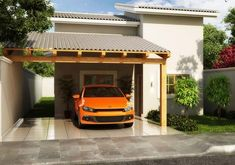 Free projects only: free design of a 76 house - halles Carport Plans, Carport Garage, Modern Carport, Glass Garage Door, Carport Designs, Mexico House, Small Garage, Bungalow House Design, Garden Deco