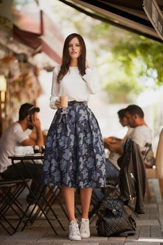 TIE BOW-TIE: CREAM BLOUSE AND ROSE DENIM SKIRT