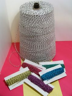 Dye your own bakers twine...I have a huge roll of black and white twine waiting to do this!