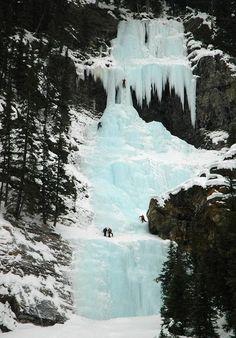 Frozen Waterfall Climbing, Lake Louise, Canada.
