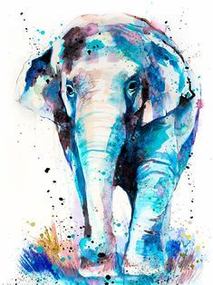 Asian Elephant watercolor painting print by Slaveika Aladjova, art, animal, illustration, home decor, Nursery, Wildlife, wall art, gift