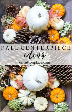 Thanksgiving Fall Centerpiece Ideas - On Sutton Place Thanksgiving Fall Centerpiece Ideas that are easy and budget-friendly. Tips on layering and using natural elements like pumpkins, bittersweet, and boxwood. Fall Crafts, Holiday Crafts, Crafts For Kids, Holiday Ideas, Holiday Fun, Fall Table Centerpieces, Centerpiece Ideas, Thanksgiving Centerpieces, Thanksgiving Ideas