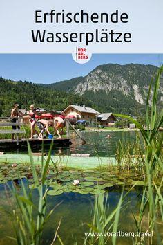 Erfrischende Wasserplätze für heiße Tage in Vorarlberg. Hier kommt man cool durch den Sommer: eine Auswahl an Seen, Flüssen und Freibädern. Seen, Mountains, Nature, Travel, Holidays, The Great Outdoors, Summer Days, Family Vacations, River