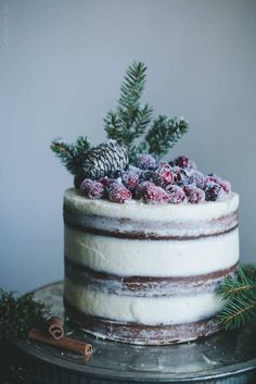 Soft Gingerbread Cake with Cream Cheese Frosting and Sugared Cranberries Recipe