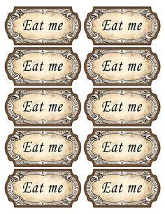 Alice in Wonderland eat me tags. Mad Hatter tea par KatarinaArt, $4.79