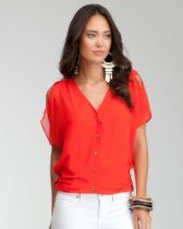 bebe Flutter Sleeve Button Down Blouse