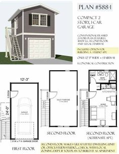 Carriage/Lane way house Art Studio and VRBO on top floor.... Two Story 1 Car Garage Plan 588-1 By Behm Design
