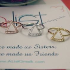 Tri delt rings, use code ANNE for 10% off and  free shipping. Alistgreek.com