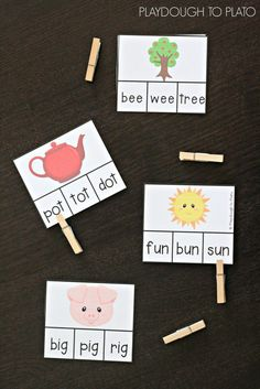 I love these word family clip cards! Great literacy center, word work station…for my rti babies Word Family Activities, Phonics Activities, Indoor Activities, Summer Activities, Reading Activities, Kindergarten Centers, Kindergarten Reading, Reading Fluency, Phonics Centers