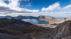 """Pan trekked up Paektu Mountain, a dormant volcano that is North Korea's highest. <a href=""""http://edition.cnn.com/2015/05/15/politics/north-korea-kim-jong-un-executions/"""">Kim Jong Un</a>, the country's leader, was photographed atop the mountain in April, 2015. (See the 360 image below)"""